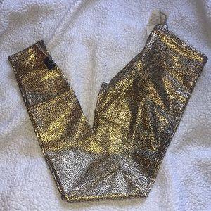 Purusha People Foil Gold Full Length Leggings SzXL